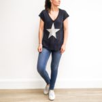 Navy Metallic Star Tee