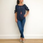Bow Sleeve Blue Bardot Top
