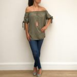 Bow Sleeve Khaki Bardot Top