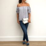 Bardot blue stripe top