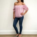 Bardot red stripe top