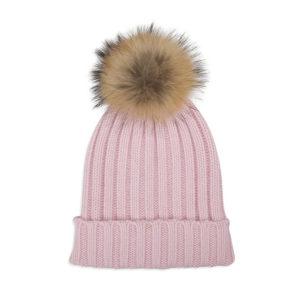 Cashmere pink bobble hat